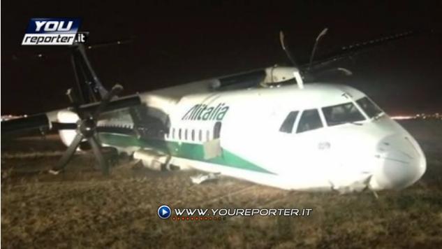 Sortie de piste à l'atterrissage d'un avion de Alitalia