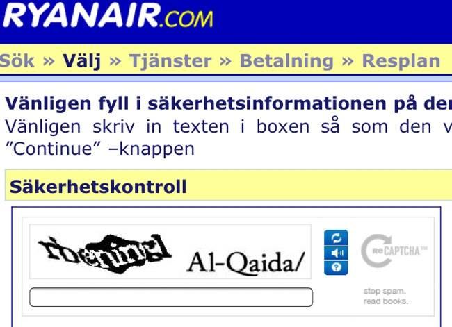 Tapez «Al-Qaida» pour réserver sur un vol Ryanair
